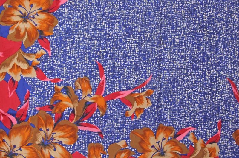Download Silk флористические лилии граничат печать сини военно-морского флота белую Стоковое Фото - изображение насчитывающей лилия, шелк: 40590692