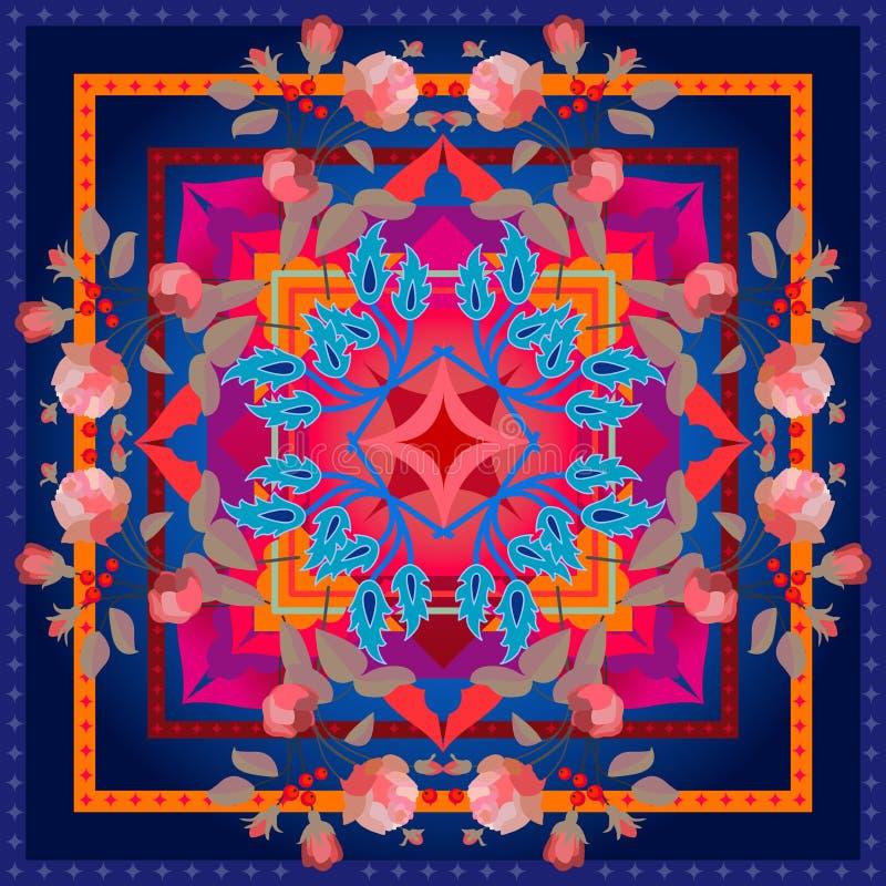 Silk шарф с венком роз бесплатная иллюстрация
