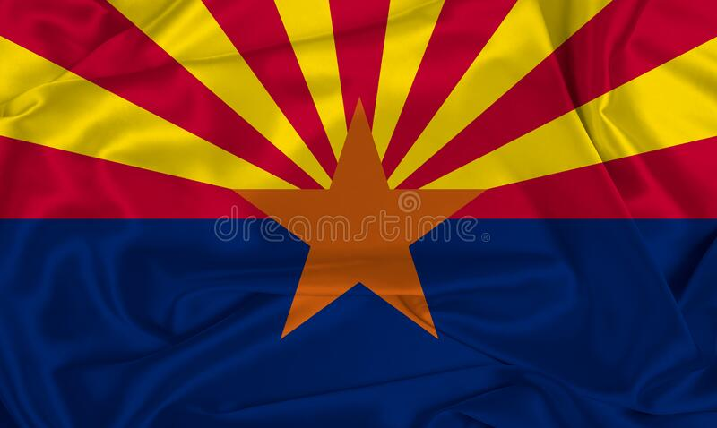 Silk Arizona State Flag. An Arizona state flag over silk texture stock photography