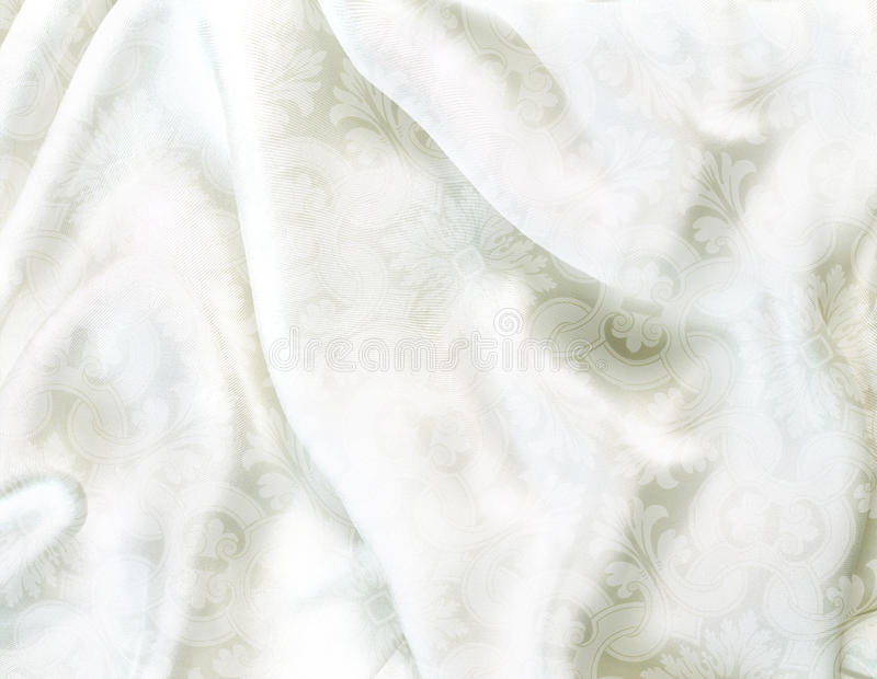 Silk background. White shimmery victorian silk background stock images