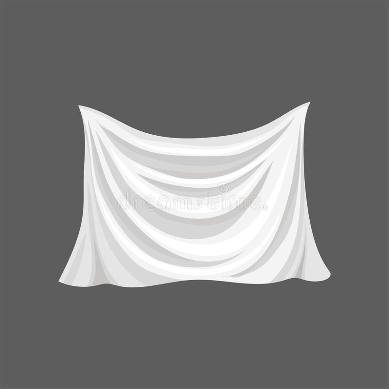Silk bed sheet. White satin cloth with gray shadows. Soft fabric material. Textile for home decor. Flat vector design. Silk bed sheet. White satin cloth with royalty free illustration