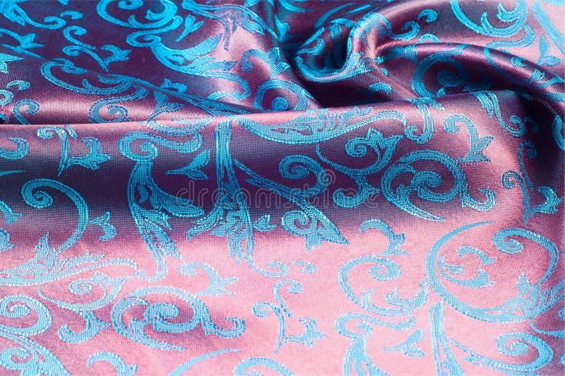 Silk Beschaffenheitsblau des Gewebes, Blumen, abstrakt stockbilder