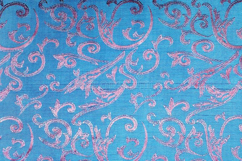 Silk Beschaffenheitsblau des Gewebes, Blumen, abstrakt lizenzfreies stockbild