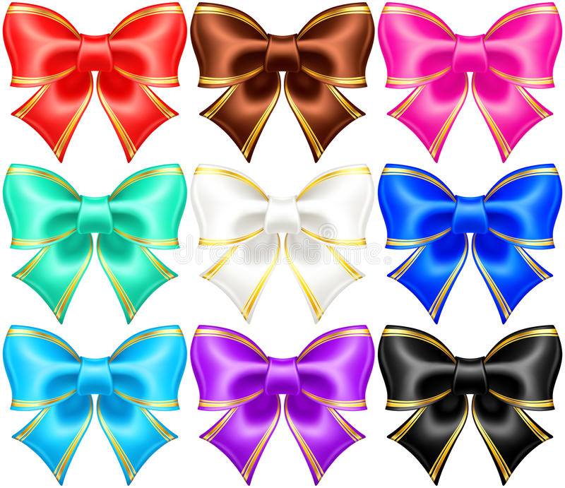 Silk Bows With Golden Edging Stock Photo