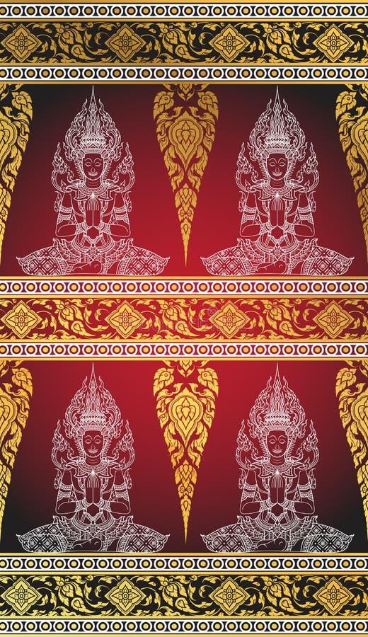 Silk buddha thai tradition abstract. Vector stock illustration