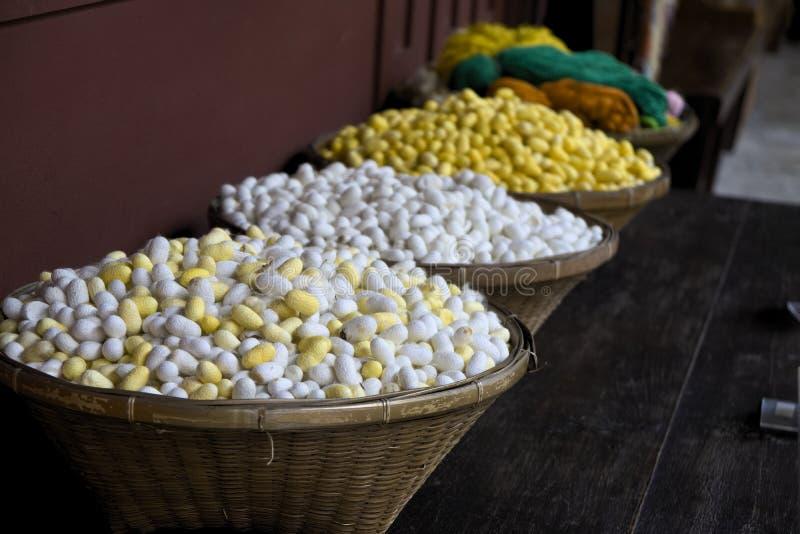 Silk bulbs balls in various colors royalty free stock photo
