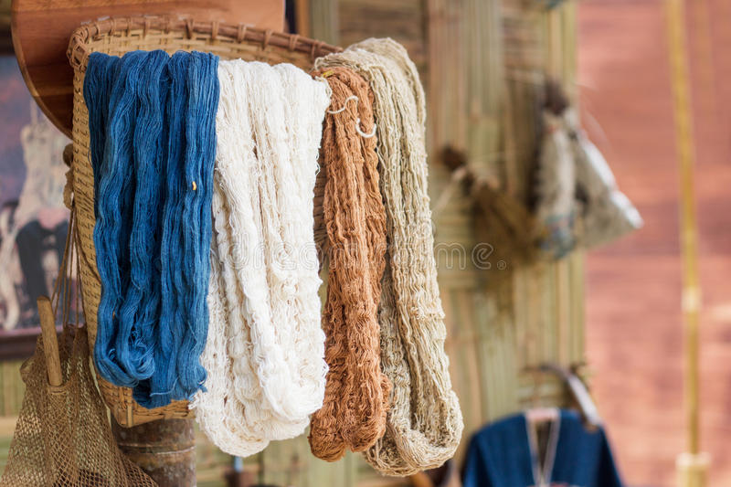 Silk color in basket royalty free stock photo