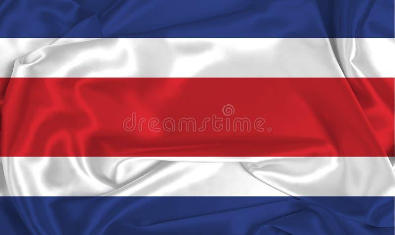 Silk Costa Rica Flag. A Costa Rica flag over silk texture royalty free stock photos