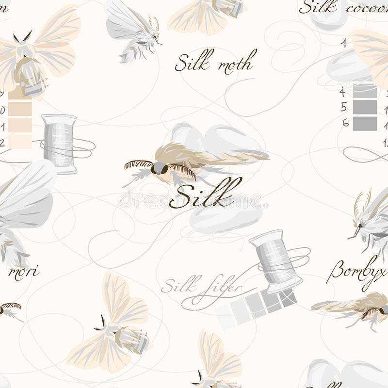 Silk cultivation white seamless vector pattern. EPS10 file vector illustration