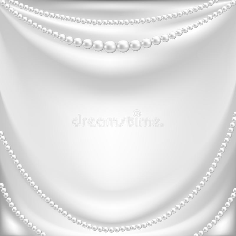 Silk drapery and pearl necklace. Elegant background with white silk drapery and pearl necklace stock illustration