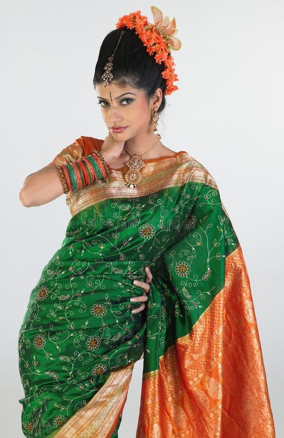 silk för sari för broderiflicka rik royaltyfria bilder