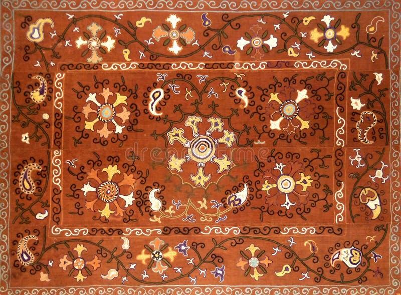 Eastern arabic decorative embroidery pattern. Silk fabric material, eastern arabic islamic decorative embroidery pattern royalty free stock image