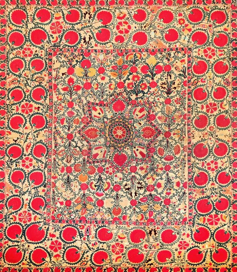 Eastern arabic decorative embroidery pattern. Silk fabric material, eastern arabic islamic decorative embroidery pattern royalty free stock photo