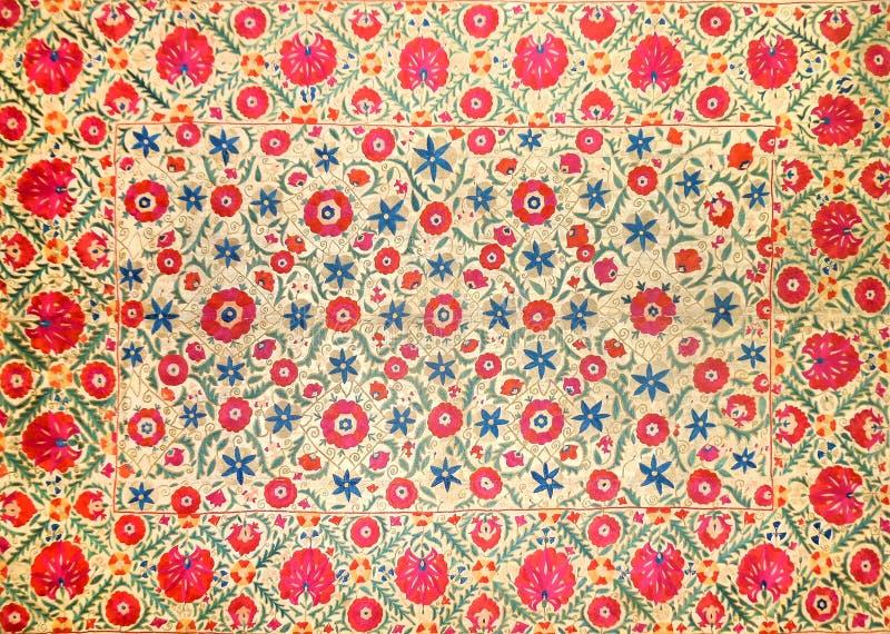 Eastern arabic decorative embroidery pattern. Silk fabric material, eastern arabic islamic decorative embroidery pattern stock photography