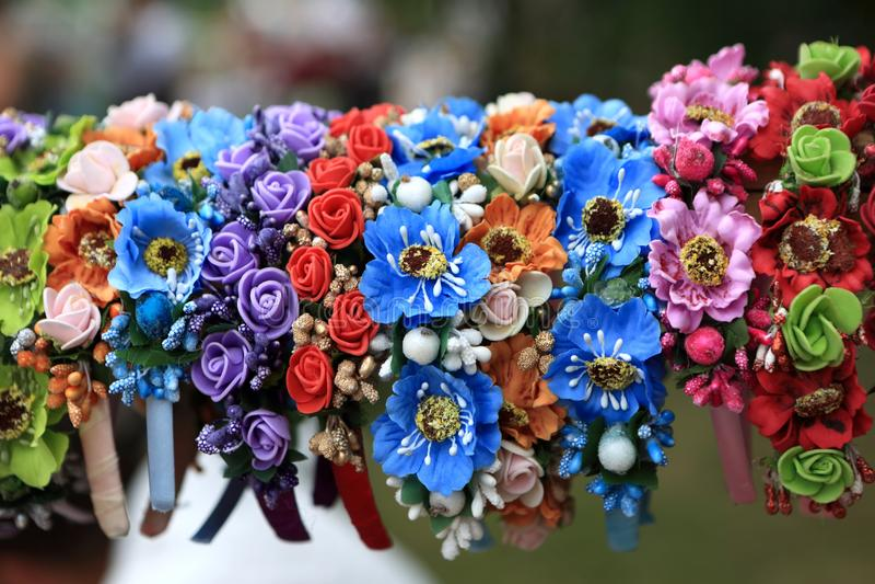 Silk flower girl wreath. On the market stock image