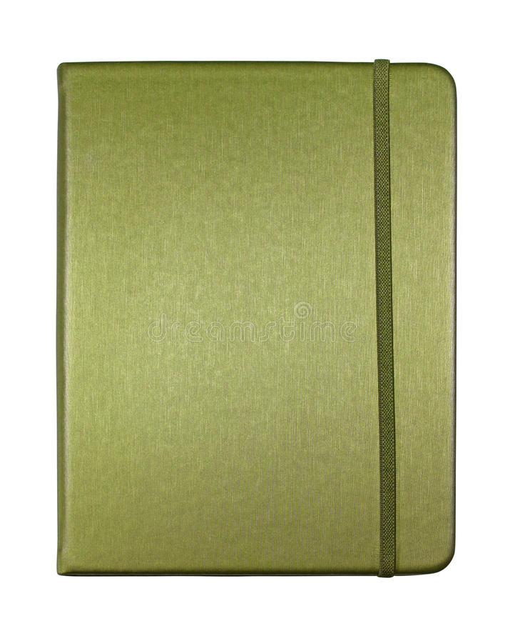 Silk green color cover note book isolated. On white background royalty free stock image