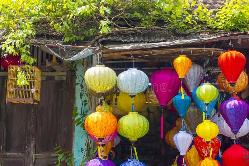 Silk Laternen Hoi An Vietnam lizenzfreie stockfotos