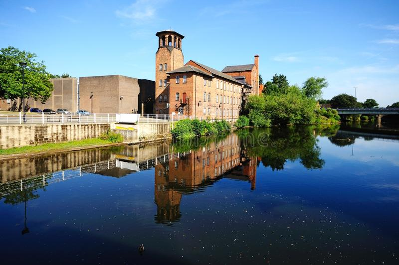 The Silk Mill, Derby. The Silk Mill alongside the River Derwent, Derby, Derbyshire, England, UK, Western Europe stock photos