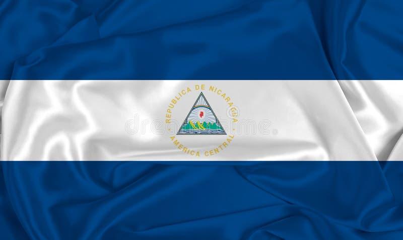Silk Nicaragua Flag. A Nicaragua flag over silk texture royalty free stock photos
