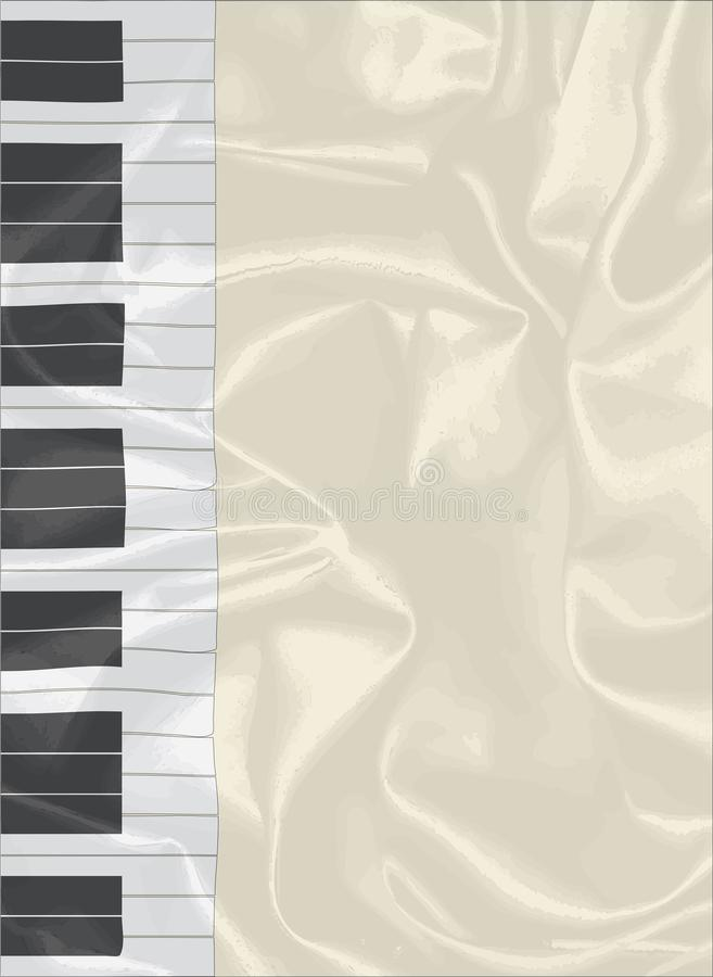 Silk Piano Keys As A Material Backdrop. Black and white piano keys set on a silk background royalty free illustration