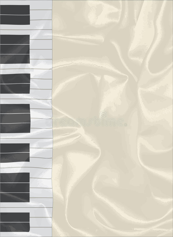 Silk Piano Keys. Black and white piano keys set on a silk background royalty free illustration
