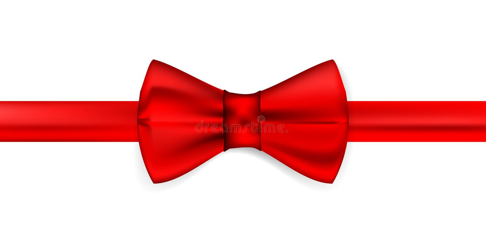 Silk red ribbon with a bow. Realistic red bow tie, vector illustration, isolated on white background. Elegant silk neck bow. Realistic red bow tie vector illustration