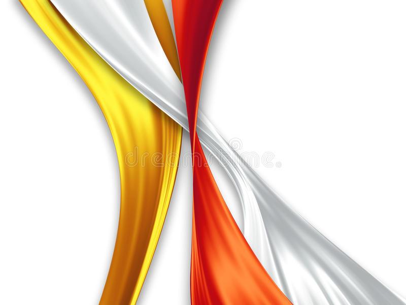 Silk ribbons. Yellow, white and red silk ribbons on a white background stock illustration