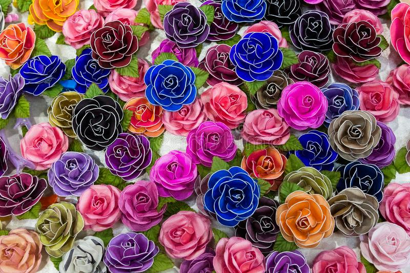Silk Roses Flowers Background royalty free stock photo