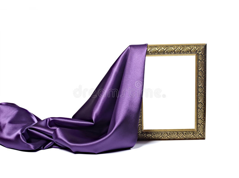 Silk satin fabric texture background wooden frame. Close up of wooden frame cover with silk textured cloth on white background with clipping path stock photography