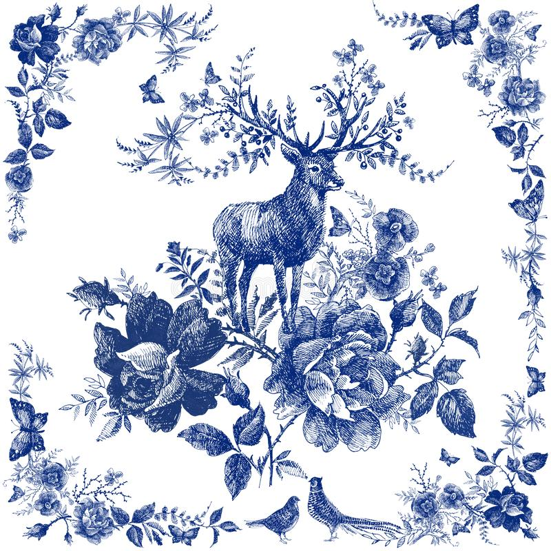 Silk scarf with floral and wild animal. Deer illustration. Vintage design shawl with roses. stock illustration