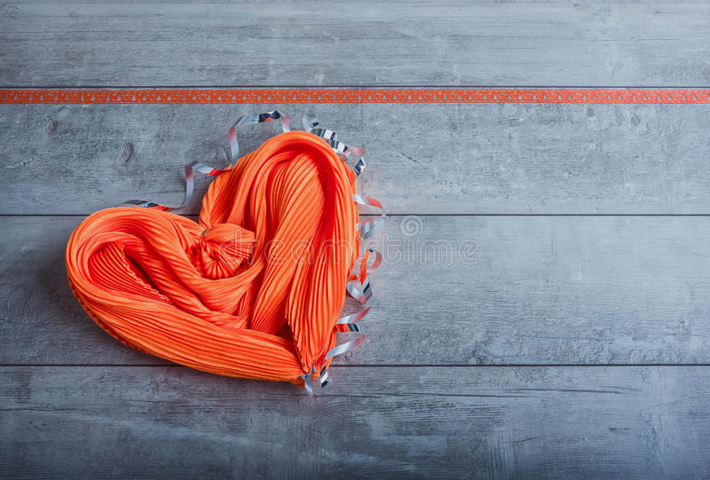 Silk scarf in the form of heart stock images