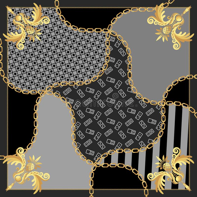 Free Silk Scarf Gold Chains Vintage Baroque Design Vector. Royalty Free Stock Photo - 137806815