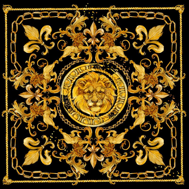 Gold chains seamless border. luxury illustration. golden Lion head and lace. damask pattern design. vintage riches background. royalty free illustration