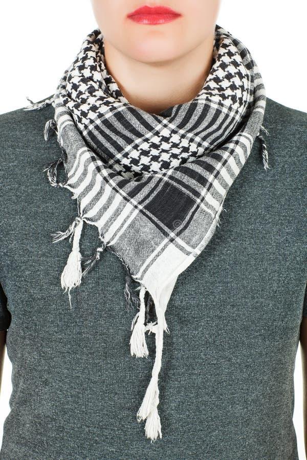 Silk scarf. Grey silk scarf around her neck on white background. Female accessory stock photos