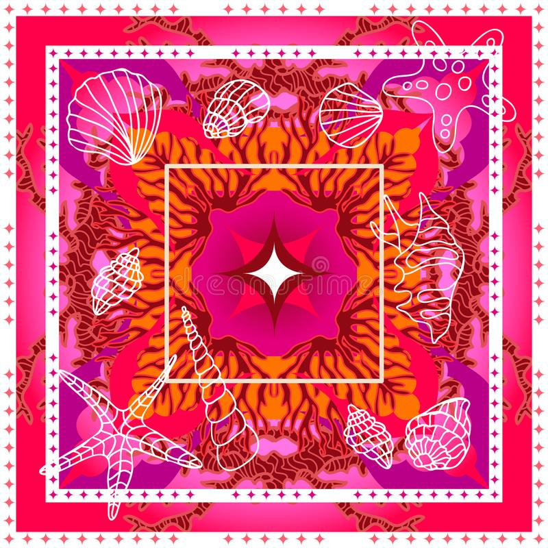 Free Silk Scarf With Corals, Shells And Starfishes. Royalty Free Stock Photo - 120769655