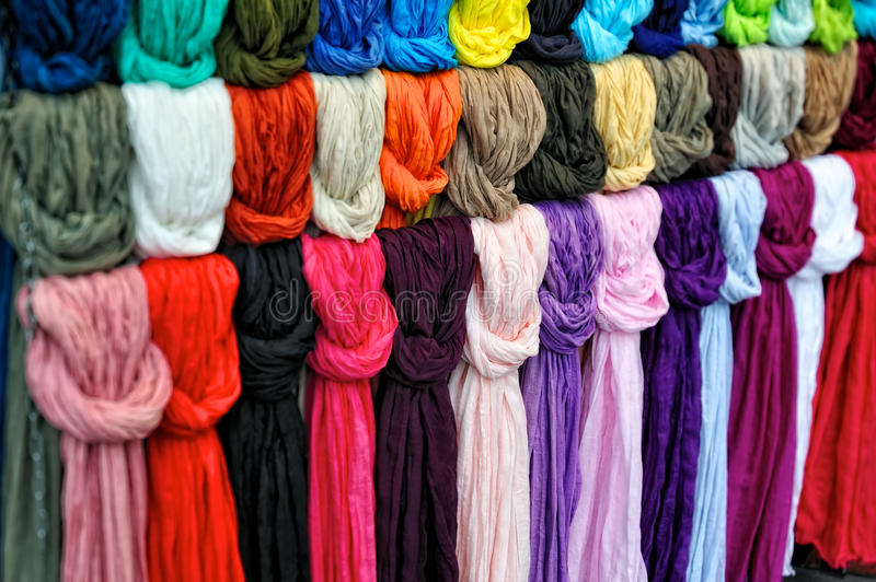 Silk scarfs stock images