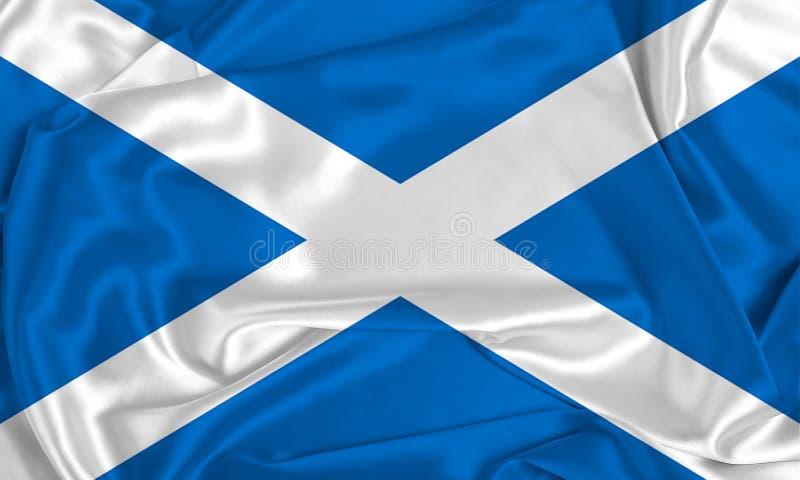 Silk Scotland Flag. A Scotland flag over silk texture stock photo