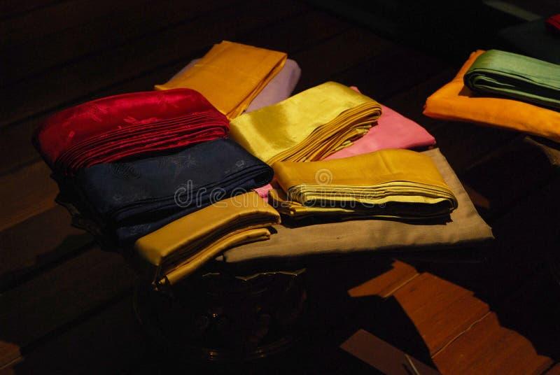 Silk. Show in nithatrattanokosin, bangkok stock photography