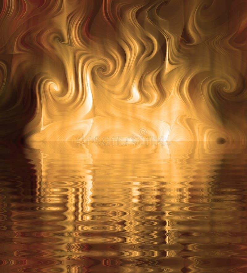 Silk Smoke Ripple Swirl. Design of Silk Smoke, ripple swirl graphic in dramatic gold stock illustration