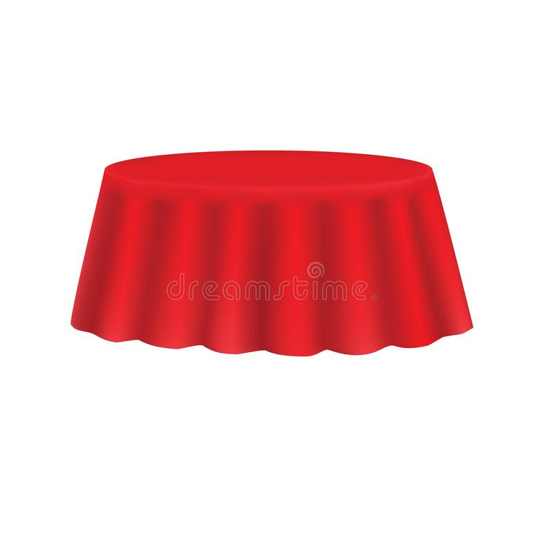 Silk tablecloth. Red silk tablecloth isolated on a white background stock illustration