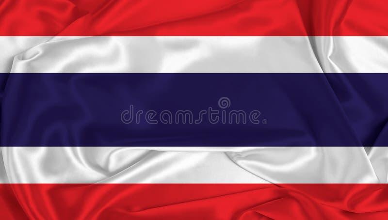 Silk Thailand Flag. A Thailand flag over silk texture stock image