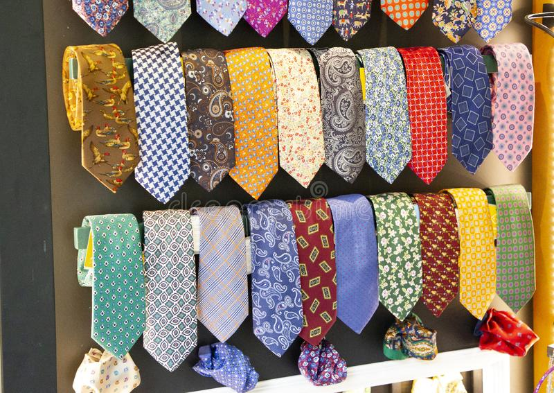 Silk ties of different colors exposed.  royalty free stock images
