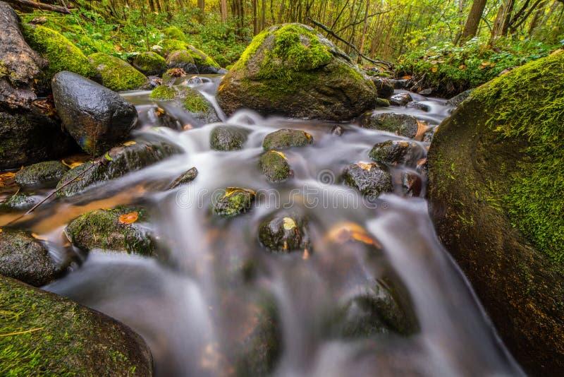 Silk water in stones stream. Long exposure stock photo