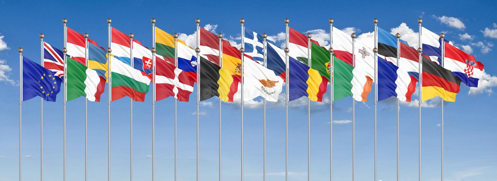 Silk waving 28 flags of countries of European Union. Blue sky background. 3D illustration. - Illustration. Silk waving 28 flags of countries of European Union royalty free illustration