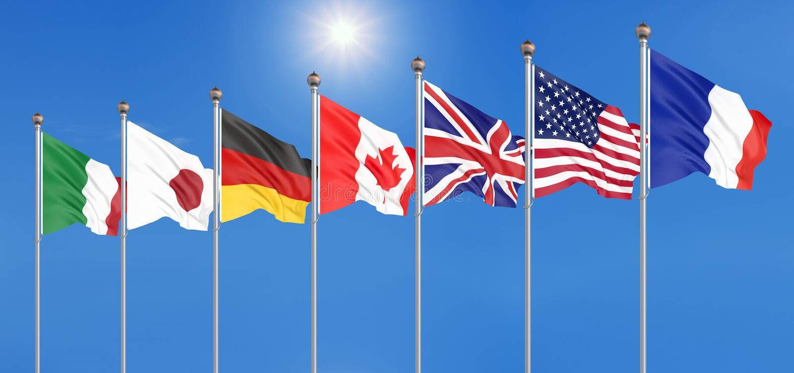 Silk waving G7 flags of countries of Group of Seven Canada, Germany, Italy, France, Japan, USA states, United Kingdom. Blue sky. Background. Big G7 in France vector illustration