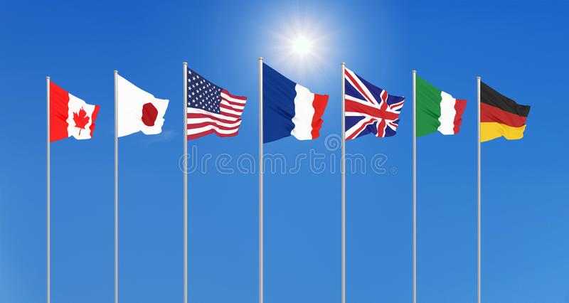 Silk waving G7 flags of countries of Group of Seven Canada, Germany, Italy, France, Japan, USA states, United Kingdom. Blue sky stock photo