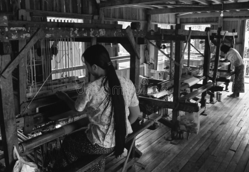 Silk weaving royalty free stock image
