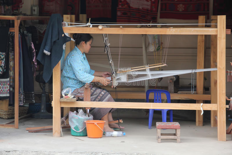 Silk weaving, Laos royalty free stock image