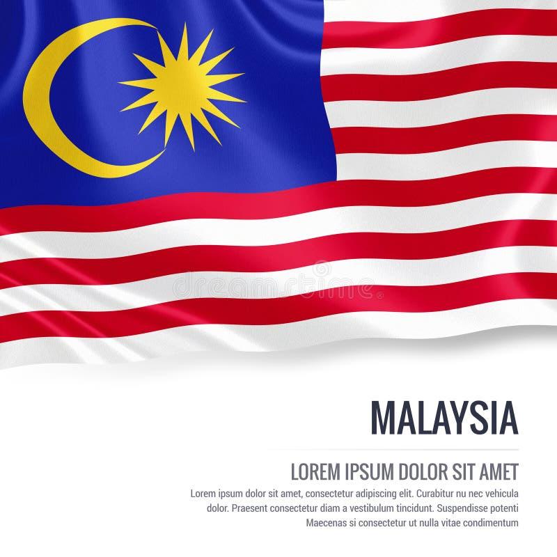 Silkeslen flagga av Malaysia som vinkar på en isolerad vit bakgrund med det vita textområdet för ditt annonsmeddelande royaltyfri illustrationer