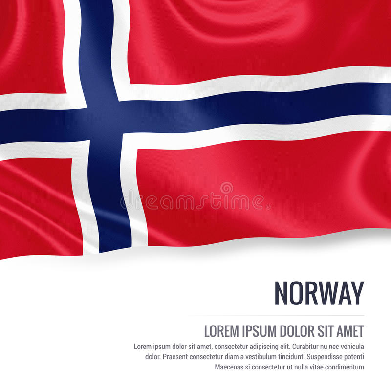 Silkeslen flagga av Norge som vinkar på en isolerad vit bakgrund med det vita textområdet för ditt annonsmeddelande royaltyfri illustrationer